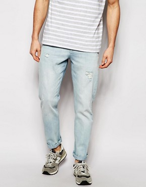 ASOS Slim Jeans In Bleach Wash With Rips