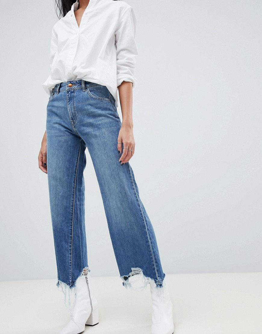 dl1961 - Hepburn - Jeans mit weitem Bein und hohem Bund - Blau