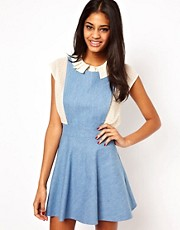 John Zack Pinafore Dress In Denim