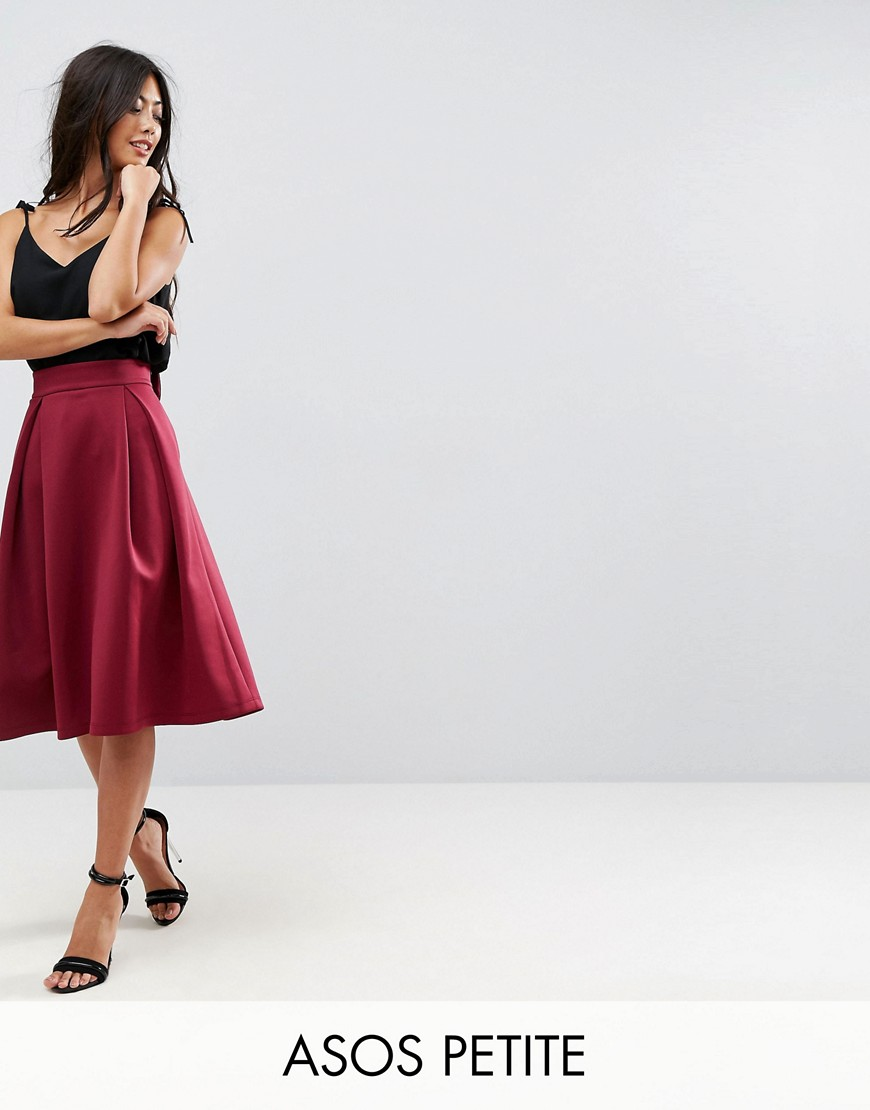 ASOS PETITE Bow Back Prom Skirt - Wine