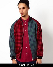 Reclaimed Vintage Varsity Jacket with Checked Panells