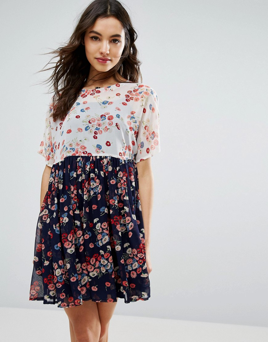 ASOS Smock Dress in Floral Print - Multi