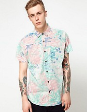 Analog Shirt Short Sleeve Hawiian Palm Print