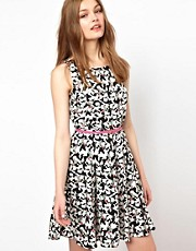 A Wear Bird Print Belted Dress