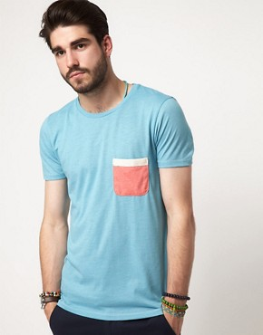 Image 1 ofASOS T-Shirt With Contrast Tape Pocket