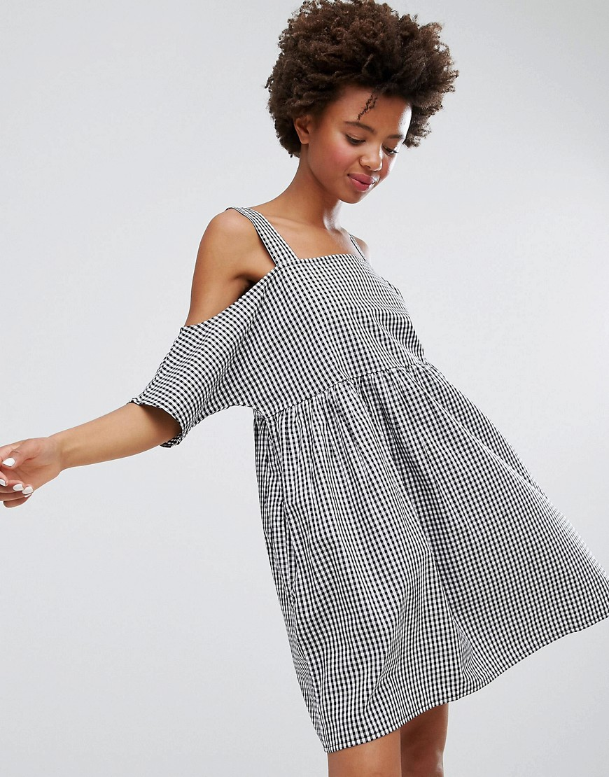Monki Gingham Cold Shoulder Smock Dress