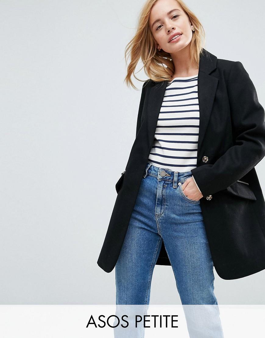 ASOS PETITE Slim Boyfriend Coat with Zip Pocket - Black