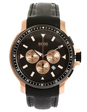 Boss by Hugo Boss Leather Black Chronograph Watch