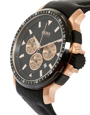 Image 3 ofBoss by Hugo Boss Leather Black Chronograph Watch