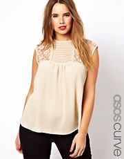 ASOS CURVE Exclusive Sleeveless Blouse With Lace Inserts &amp; Pintucks