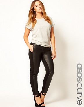 Image 1 ofASOS CURVE Exclusive Leather Panelled Trousers