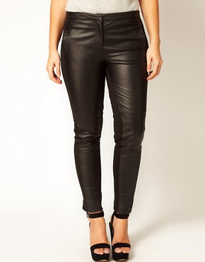 Image 4 ofASOS CURVE Exclusive Leather Panelled Trousers
