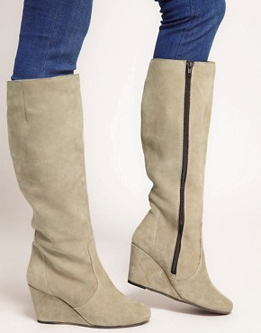Image 3 ofASOS CHESTER Suede Wedge Knee High Boots