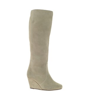 Image 1 ofASOS CHESTER Suede Wedge Knee High Boots
