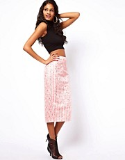 ASOS PREMIUM Column Skirt in Fluro Lace