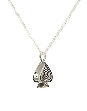 Image 4 ofLaura Lee Sterling Silver Small Spade Playing Card Symbol Pendant Necklace On 16&quot; Chain