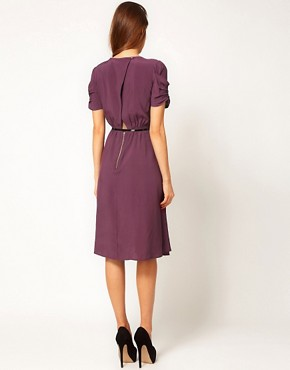 Image 2 ofASOS Midi Dress With Back Detail And Belt
