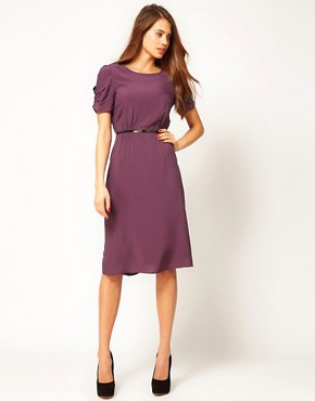 Image 4 ofASOS Midi Dress With Back Detail And Belt