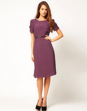 Image 1 ofASOS Midi Dress With Back Detail And Belt