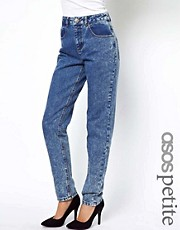 ASOS PETITE Mom Jeans in Indigo Acid Wash