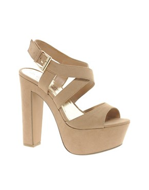 Image 1 ofNew Look Scraper Beige Platform Sandals