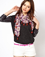 Pepe Jeans Printed Neckerchief Scarf with Tassels