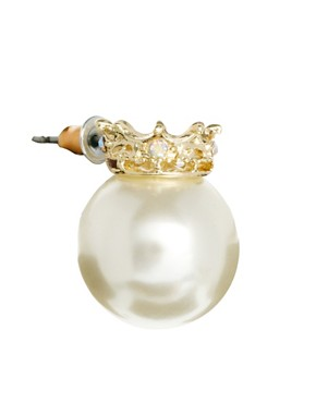 Image 3 ofASOS Crown Pearl Earrings