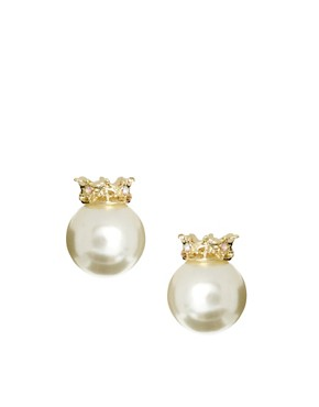 Image 1 ofASOS Crown Pearl Earrings