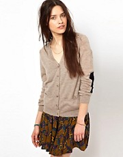 American Vintage Fine Knit Cardigan with Contrast Elbow Patches