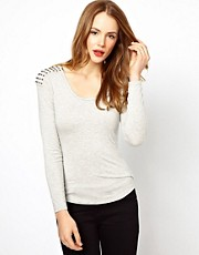 Karen Millen Studded Shoulder Long Sleeve Tee
