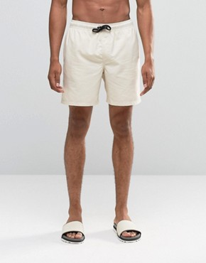 ASOS Mid Length Swim Shorts In Stone