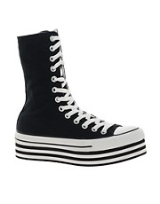 Converse  All Star  Schwarze Turnschuhe mit flacher Plateausohle und extrahohem Schaft