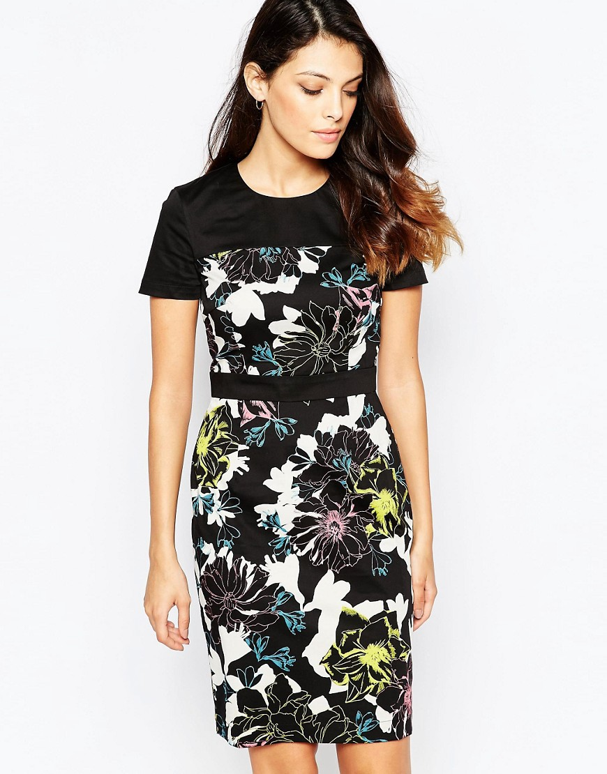 French Connection Botanical Trip Dress - Black multi