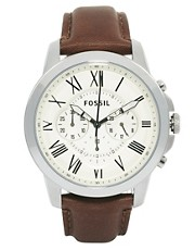 Fossil Grant Chronograph Leather Strap Watch FS4735