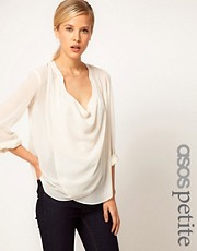 ASOS PETITE Blouse With Detail Front And Drop Neck