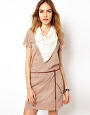 Maison Scotch Jersey Dress with Scarf and Tie Belt