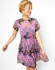 ASOS Smock Dress In Patchwork Print