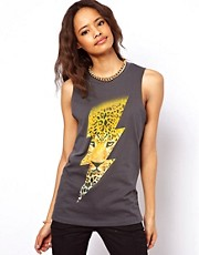 ASOS Vest with Lightning Leopard Print