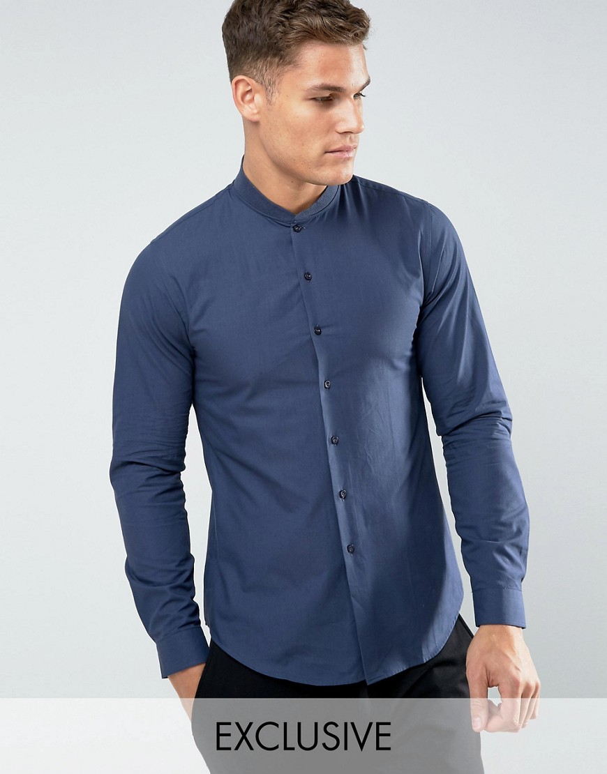 Noak Ribbed Collar Skinny Shirt - Navy