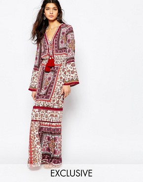 White Sand Prarie Printed Maxi Dress With High Thigh Split