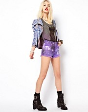 Voodoo Girl Star Printed Denim Shorts