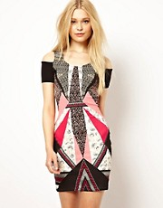 River Island Body-Conscious Dress With Print & Cold Shoulder
