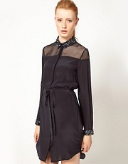 French Connection Shirt Dress With Encrusted Collar &amp; Cuff