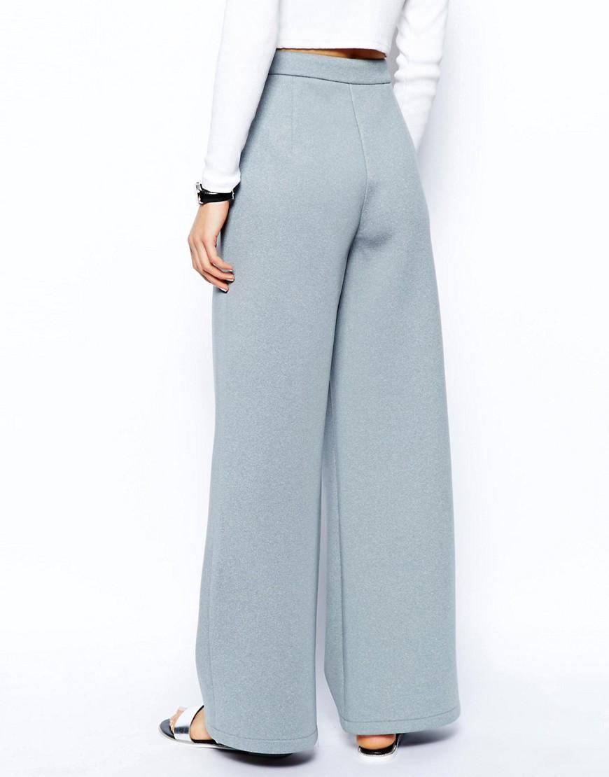 Image 2 ofASOS Wide Leg Trousers in Premium Bonded Scuba