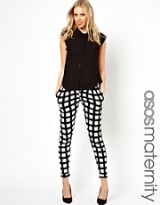 ASOS Maternity Exclusive Peg Trouser in Printed Check
