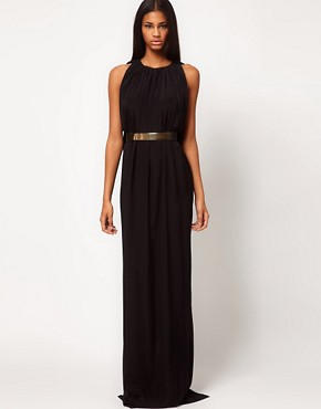 Image 1 ofAqua Gable Cape Back Belted Maxi Dress