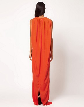 Image 2 ofAqua Gable Cape Back Belted Maxi Dress