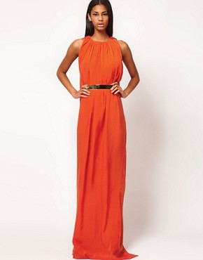 Image 4 ofAqua Gable Cape Back Belted Maxi Dress