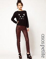 ASOS PETITE Exclusive Oxblood Leather Trousers