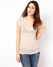 Denham - T-shirt mlange con scollo a V